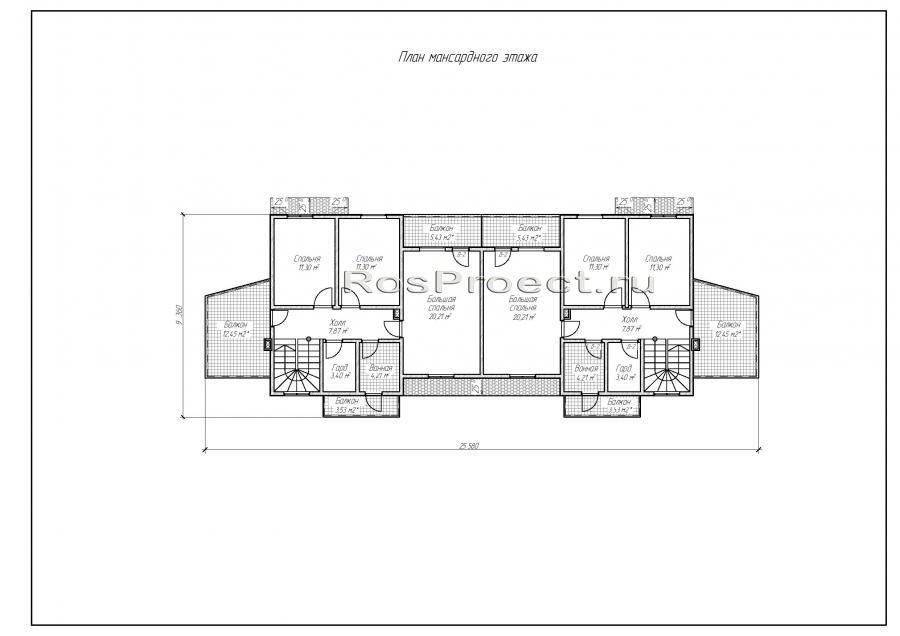 Дом с мансардой, гаражом, террасой и балконами - 1 секция vg.